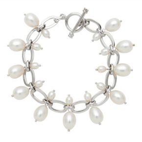 Sterling Silver Freshwater Cultured Pearl Drop Bracelet
