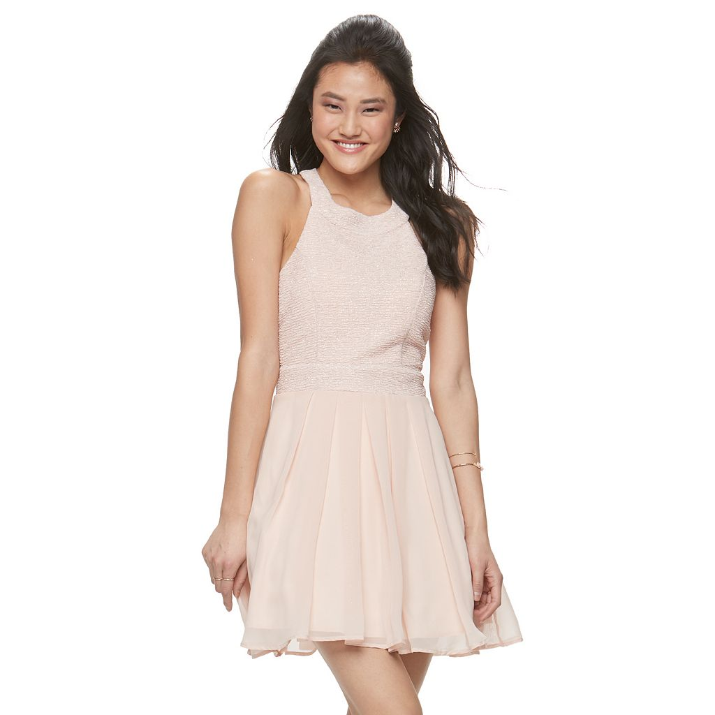 Juniors' Trixxi Glitter Crisscross Halter Dress