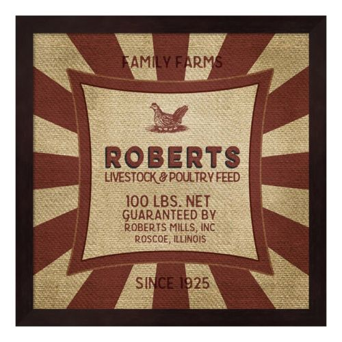 """Roberts"" Feed Sack Framed Wall Art"