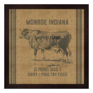 Cow Feed Sack Framed Wall Art