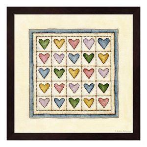 Hearts Patchwork Framed Wall Art
