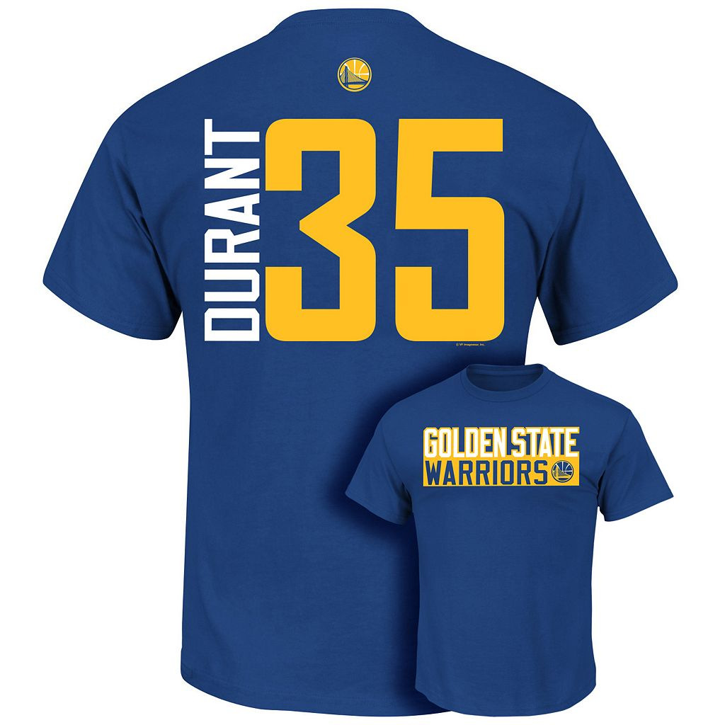 Big & Tall Majestic Golden State Warriors Kevin Durant Name and Number Tee
