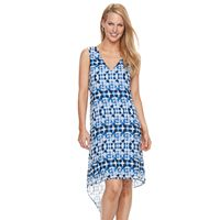 Women's Dana Buchman Abstract Chiffon High-Low Dress