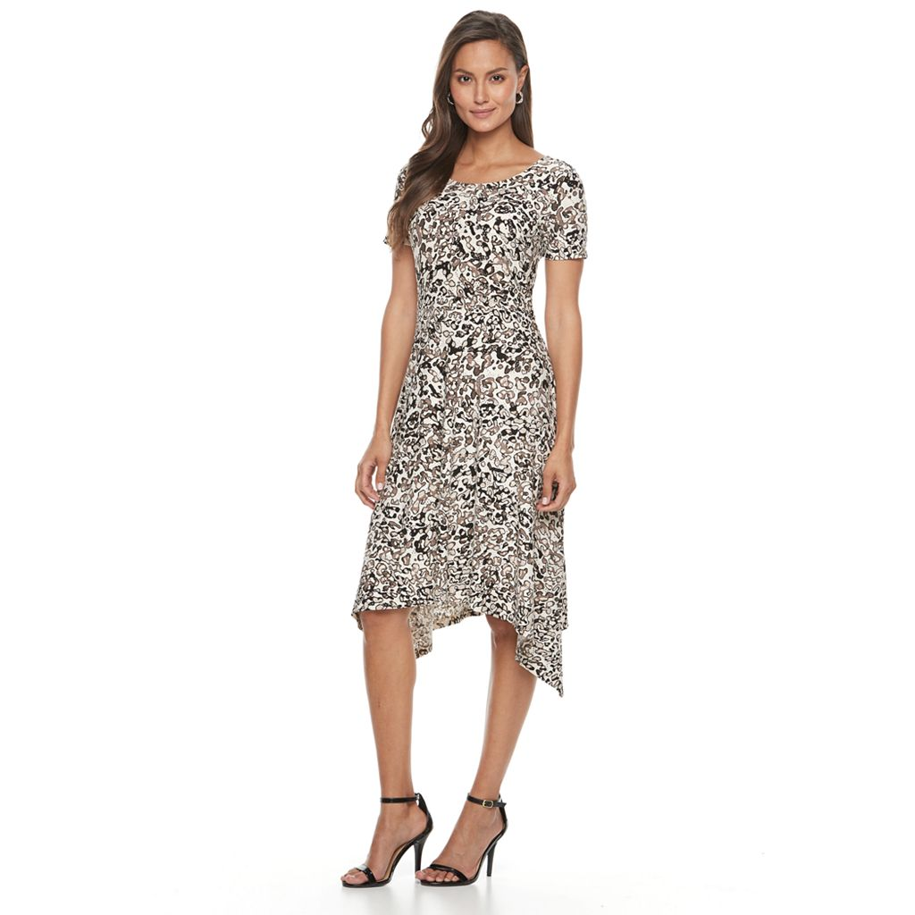 Women's Dana Buchman Printed Shark-Bite Hem Dress