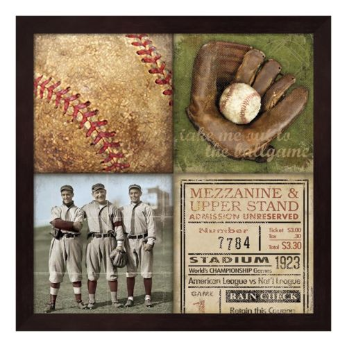 Baseball 4 Patch Framed Wall Art