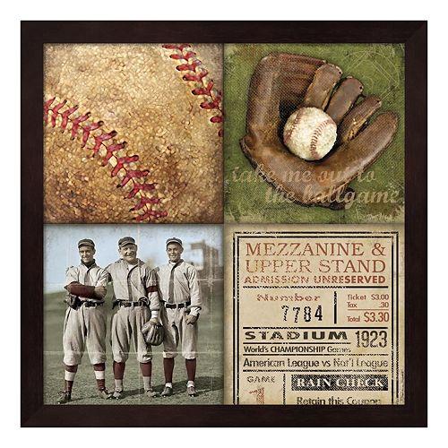 Baseball 4 Patch Framed Wall Art