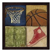 Basketball 4 Patch Framed Wall Art
