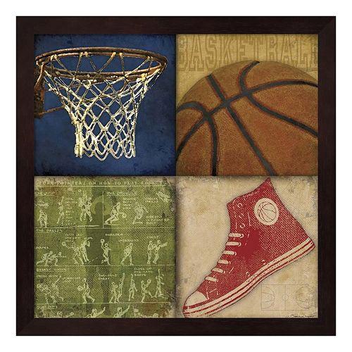 Basketball 4 Patch Framed Wall Art