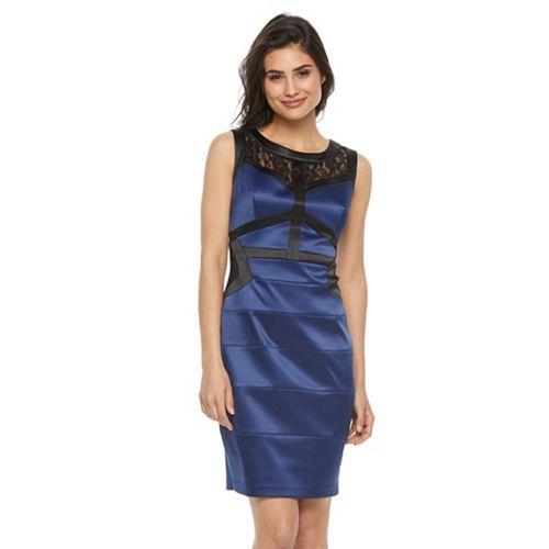 Petite Chaya Lace-Trim Bandage Sheath Dress