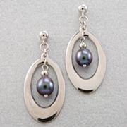 Sterling Silver Dyed-Black Freshwater Cultured Pearl Earrings