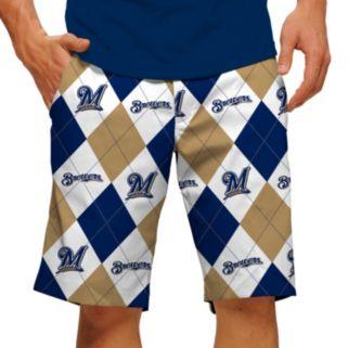 Men's Loudmouth Milwaukee Brewers Argyle Shorts