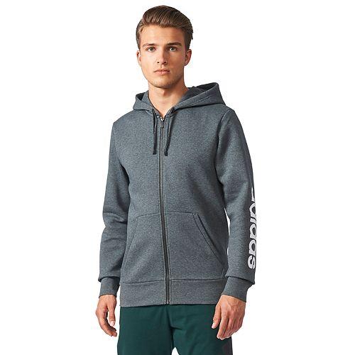 Men's adidas Essentials Linear Full-Zip Fleece Hooded Jacket