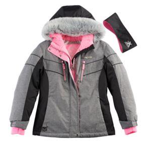 Girls 7-16 ZeroXposur Faux-Fur Trim Fleece-Lined Heavyweight Jacket & Ear Muff Headband Set