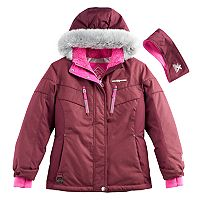 Girls 7-16 ZeroXposur Faux-Fur Trim Fleece-Lined Heavyweight Jacket & Ear Muff Headband Set