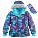Girls 7-16 ZeroXposur Faux-Fur Trim Fleece-Lined Heavyweight Galaxy Jacket & Ear Muff Headband Set