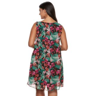 Plus Size Chaya Floral Chiffon Shift Dress