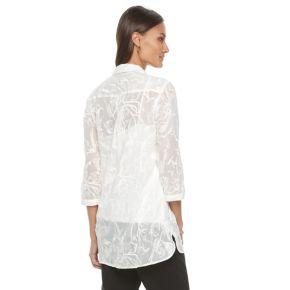 Women's Dana Buchman Sheer Embroidered Tunic Shirt