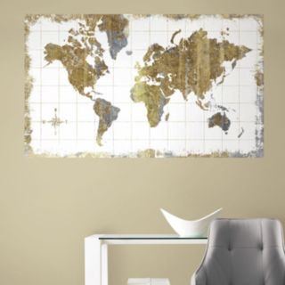 RoomMates Gold Tone Map Peel & Stick Mural Wall Decal