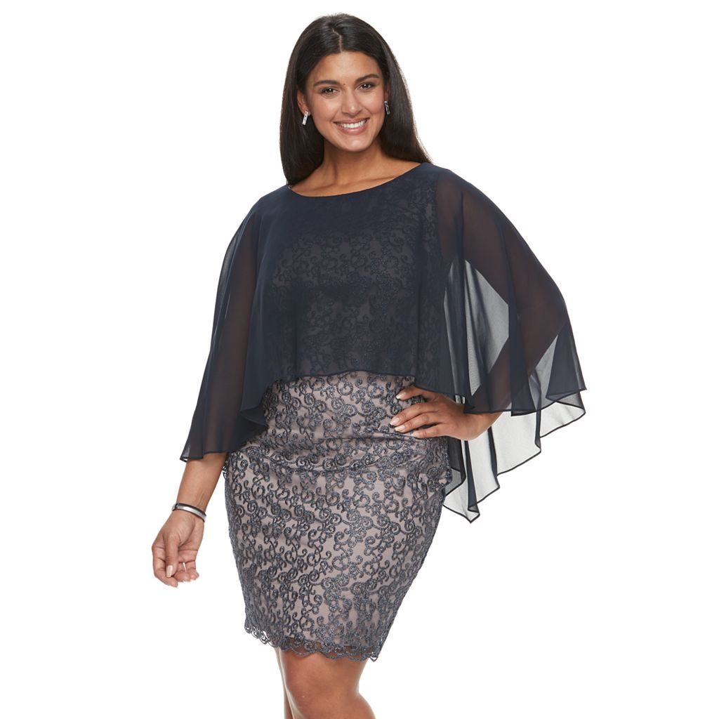 Plus Size Chaya Scroll Popover Evening Gown