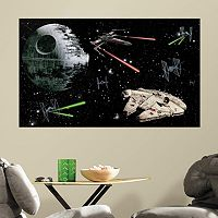 Star Wars Death Star & Millennium Falcon Peel & Stick Mural Wall Decal by RoomMates