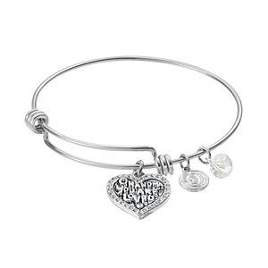 love this lifeCrystal Grandma Heart Charm Bangle Bracelet