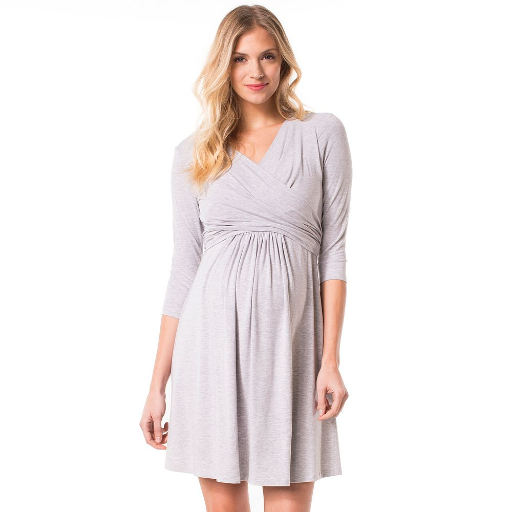 Maternity dresses kohls maternity pip vine by rosie pope faux wrap nursing dress gray heather black navy ombrellifo Images