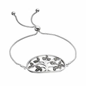 Brilliance Silver Plated Marcasite Family Tree Lariat Bracelet