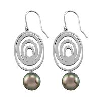 Sterling Silver Cultured Tahitian Pearl Drop Earrings