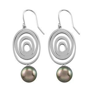 Sterling Silver Cultured Tahitian Pearl Drop Earrings
