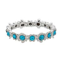Napier Simulated Crystal Flower Stretch Bracelet