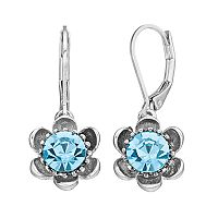 Napier Simulated Crystal Flower Nickel Free Drop Earrings