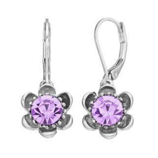 Napier Simulated Crystal Flower Nickel Free Drop Earrings