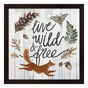 """Live Wild & Free"" Framed Wall Art"