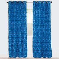 Portsmouth Home Dana Flocked Window Curtain Set