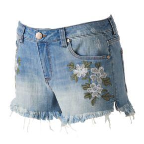 Juniors' Tinseltown Floral Denim Shortie Shorts