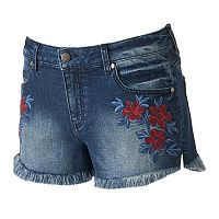 Juniors' Tinseltown Floral Denim Shortie Shorts