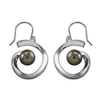 Sterling Silver Black Tahitian Freshwater Cultured Pearl Earrings