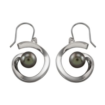 Sterling Silver Black Tahitian Freshwater Cultured Pearl Earrings