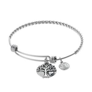 love this lifeFamily Tree Charm Twist Bangle Bracelet