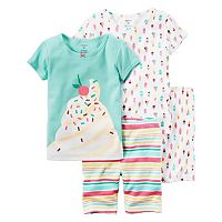 Toddler Girl Carter's 4-pc. Tee & Shorts Pajama Set