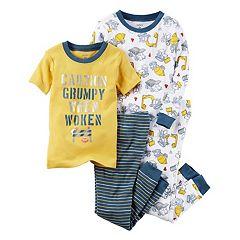 Baby Boy Carter's 4 pc Construction Trucks 'Caution' Tops & Pants Pajama Set