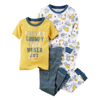 "Baby Boy Carter's 4-pc. Construction Trucks ""Caution"" Tops & Pants Pajama Set"