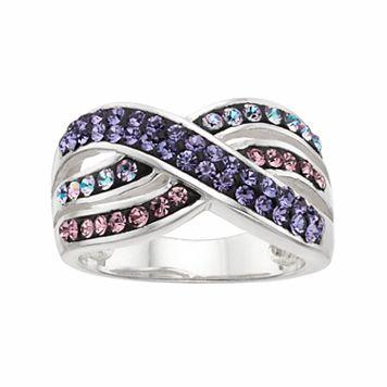 Confetti Purple Crystal Crisscross Ring