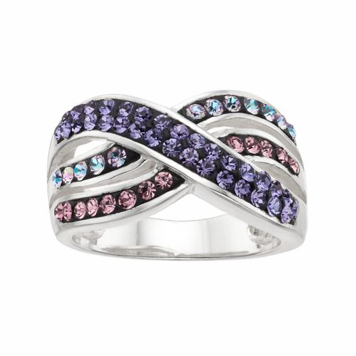 Confetti Purple Crystal Crisscross Ring