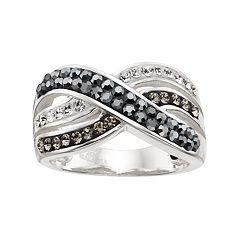 Confetti Black Crystal Crisscross Ring