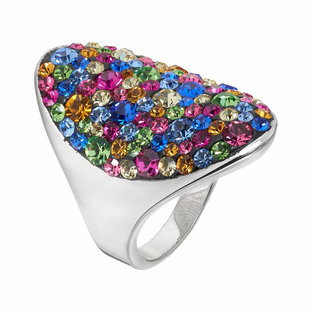 Confetti Crystal Oval Ring