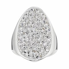 Confetti Clear Crystal Oval Ring