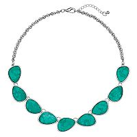 Aqua Oblong Cabochon Necklace