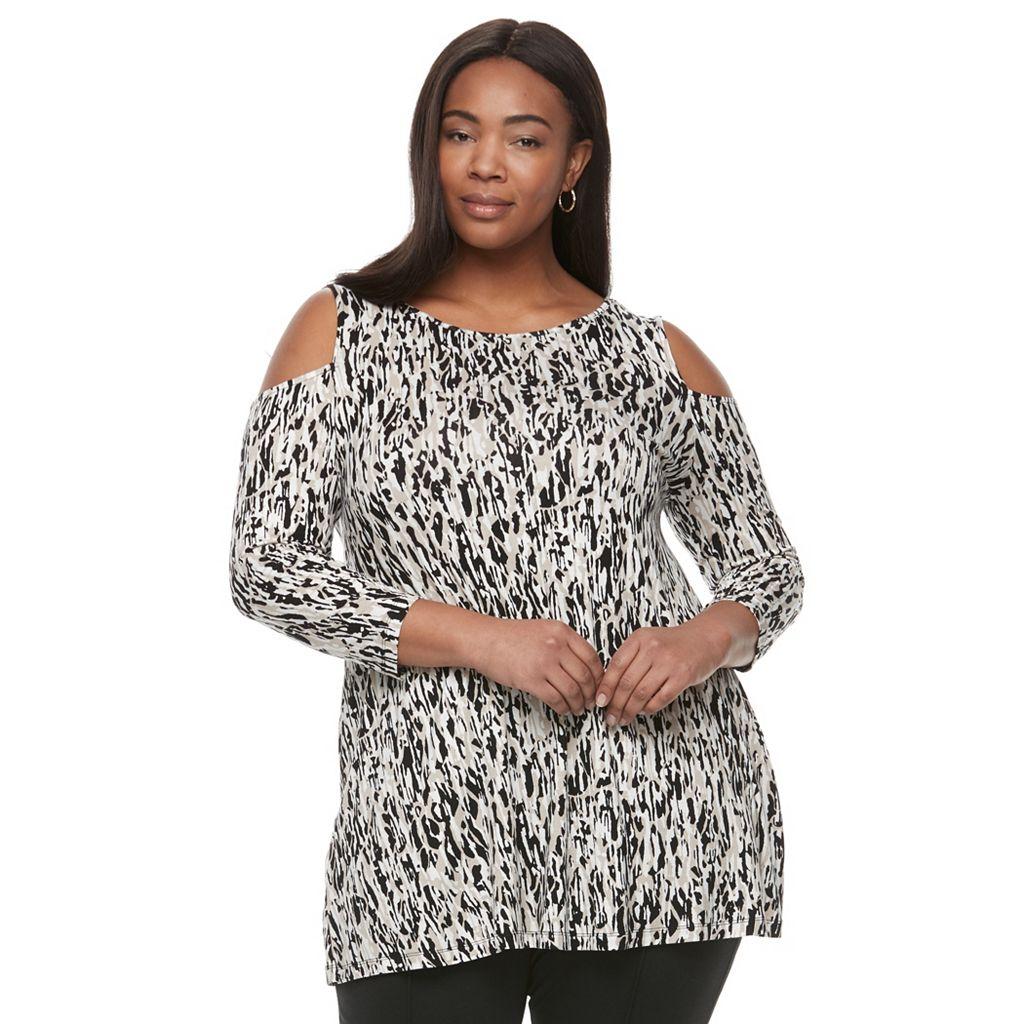 Plus Size Dana Buchman Cold-Shoulder Tunic