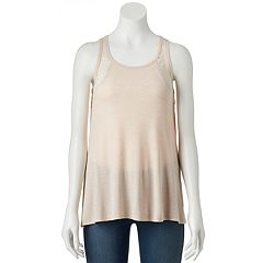 Juniors' Pink Republic Lace Back Tank